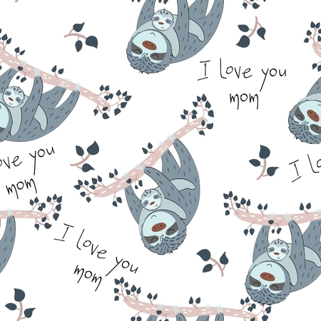 Seamless pattern. Vector sloth mom and baby