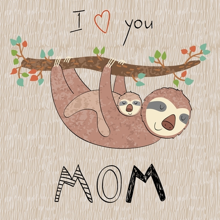 Baby shower cards. Vector sloth mom and baby