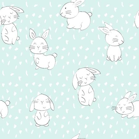 Modèle sans couture de vecteur avec des lapins mignons de dessin animé