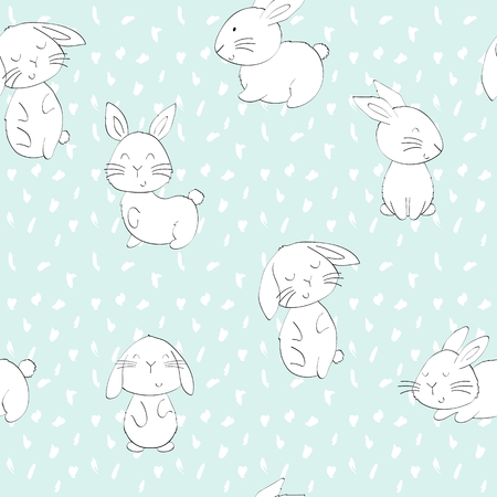 Vector seamless pattern with cartoon cute bunnies