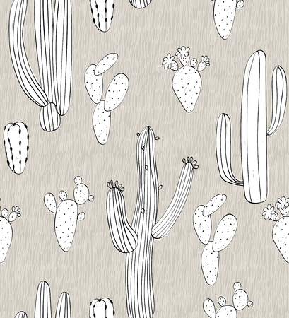 Vector hand drawn seamless cactuses pattern background