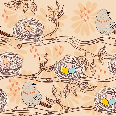 Modèle sans couture de vecteur avec des oiseaux et des nids dessinés à la main Vecteurs