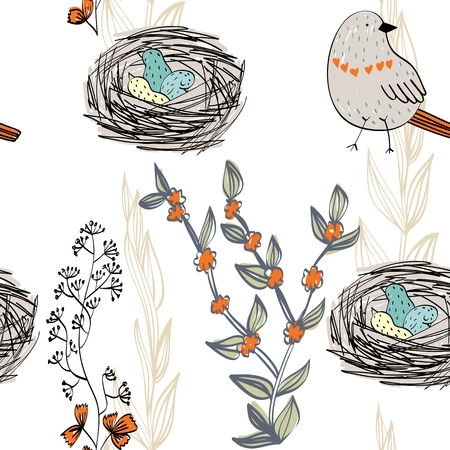 Vector seamless pattern with hand drawn birds and nests