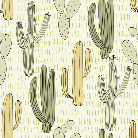 Vector hand drawn seamless cactuses pattern background Standard-Bild - 110122665
