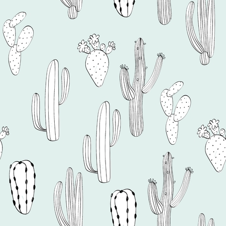 Vector hand drawn seamless cactuses pattern background Фото со стока - 110122667