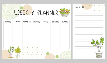Hand drawing vector weekly planner with plants. Çizim
