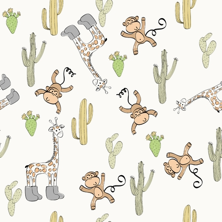 Vector hand drawn seamless pattern with cactuses and animals Foto de archivo - 110122670