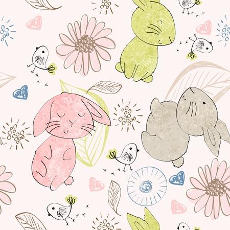 Vector seamless pattern with cartoon cute bunnies Archivio Fotografico - 109818041