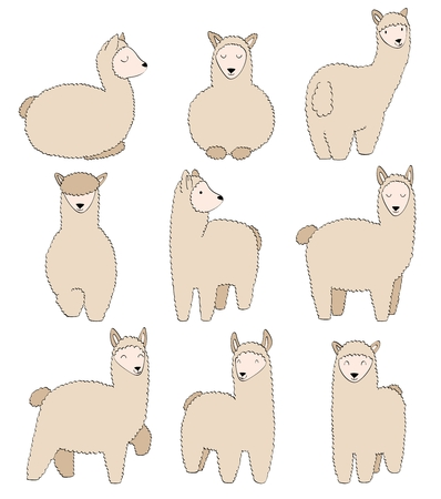 Cute llamas. Funny smiling animals isolated on white background. Stock Illustratie