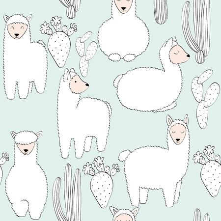 hand drawn vector seamless pattern with llamas