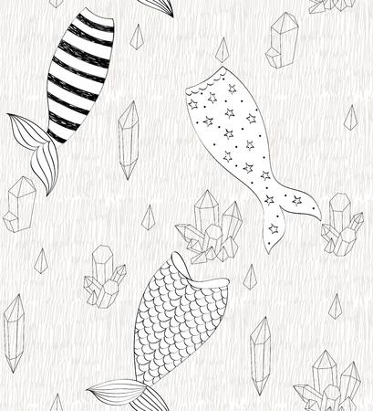 Vector cute seamless pattern with mermaid tails and crystals.