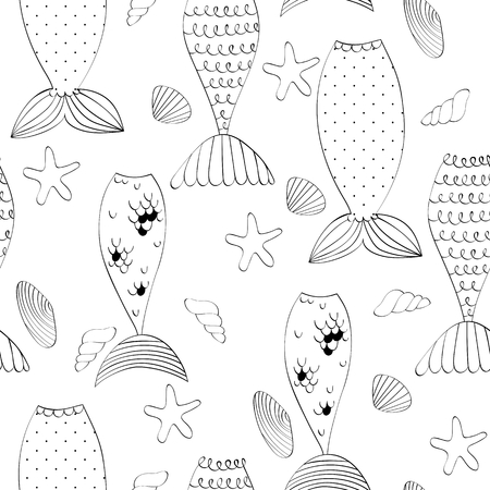 Vector seamless pattern with a mermaid tails and seashells Illustration