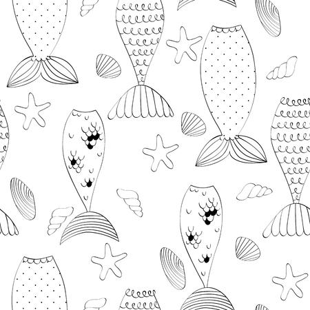 Vector naadloze patroon met een zeemeermin-staarten en schelpen
