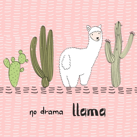 Hand drawn card with llama and cactus.No drama llama Çizim