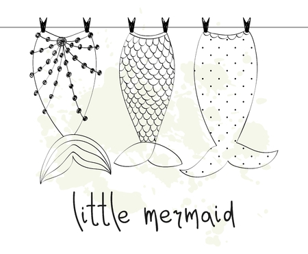 Vector hand getekende illustratie met zeemeerminstaarten