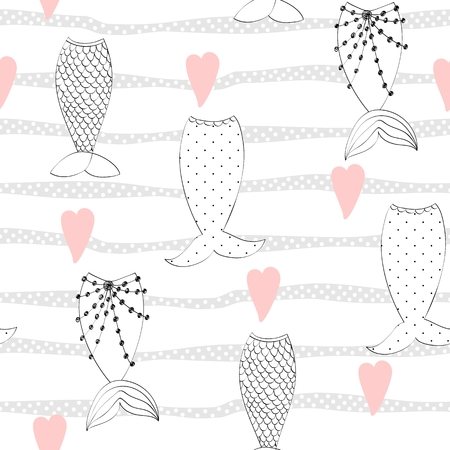 Vector seamless pattern with a mermaid tails