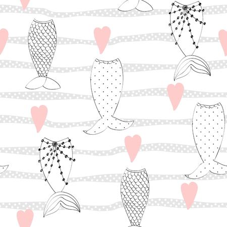 Vektor nahtloses Muster mit einem Meerjungfrauenschwanz Vektorgrafik