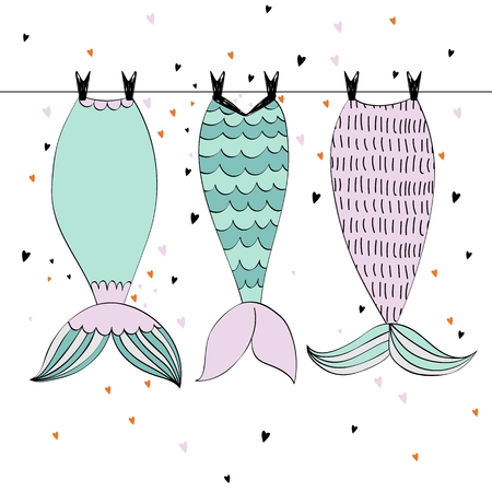 Vector hand drawn illustration with mermaid tails