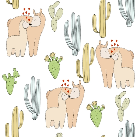 Seamless pattern. Vector lama mom and baby