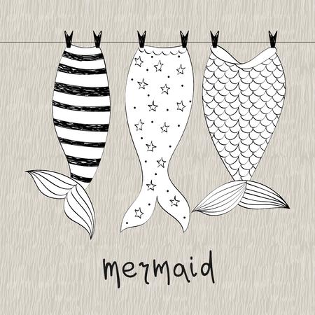 Vektorhand gezeichnete Illustration mit Meerjungfrauenschwänzen