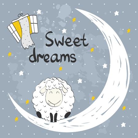 Vector sleeping sheep