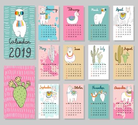 Vector cute Calendar 2019.