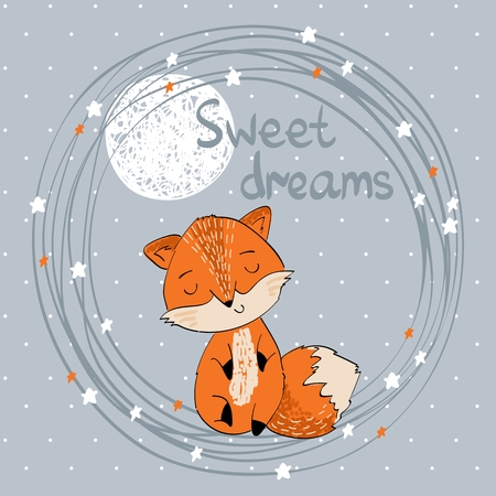 Vector illustration with funny fox and moon. Sweet dreams. Stock Illustratie
