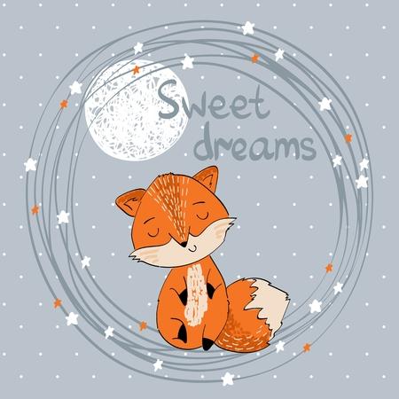 Ilustración de vector con divertido zorro y luna. Dulces sueños.