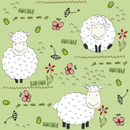 Cute vector seamless pattern with funny sheeps. Background for fabric, paper, wallpaper, wrapping and other.