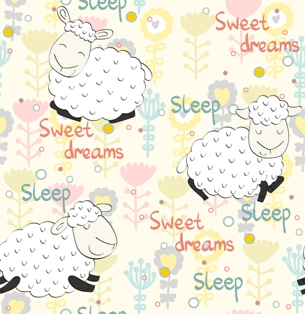 Seamless pattern with funny sheeps. Sweet dreams.
