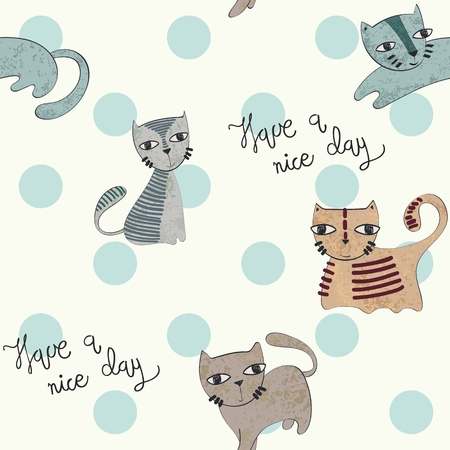 Vector hand drawn seamless pattern with cats Stockfoto - 127702229