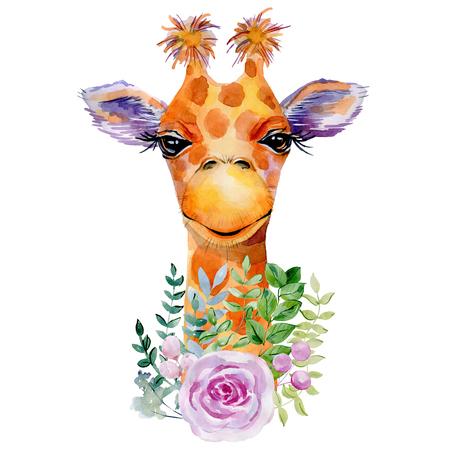 Watercolor giraffe portrait.