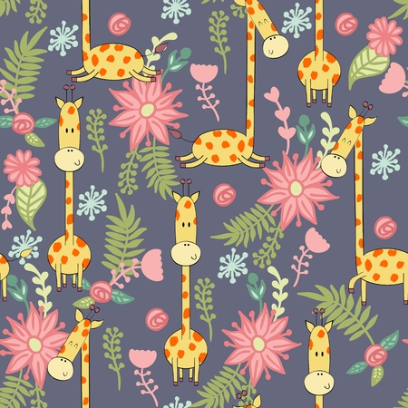 Vector illustration with cartoon giraffe with flowers. Seamless pattern Archivio Fotografico - 127472278