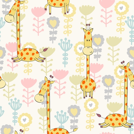 Vector illustration with cartoon giraffe with flowers. Seamless pattern