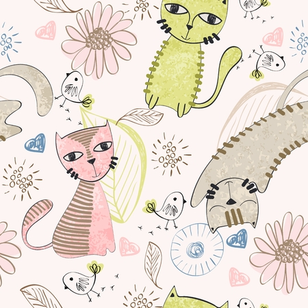 Vector hand drawn seamless pattern with cats Archivio Fotografico - 127472280