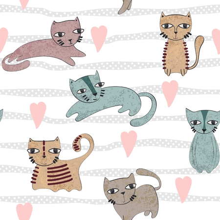 Vector hand drawn seamless pattern with cats Stock Vector - 127472281