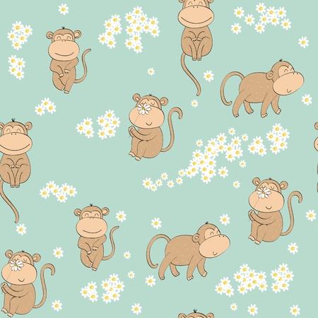 Vector illustration with cartoon monkeys. Seamless pattern