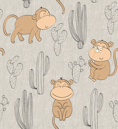 Vector hand drawn seamless pattern with cactuses and monkeys Archivio Fotografico - 127472284
