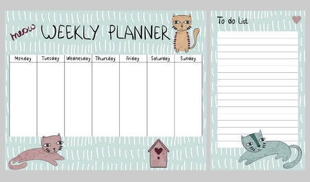 Hand drawing vector weekly planner with cats.