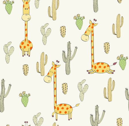 Vector hand drawn seamless pattern with cactuses and giraffes Archivio Fotografico - 127472286