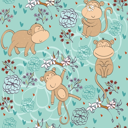Vector illustration with cartoon monkeys with flowers. Seamless pattern Ilustração