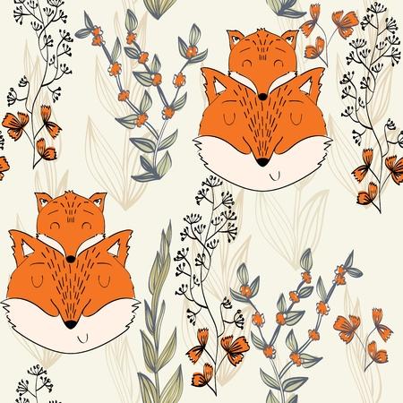 Seamless pattern. Vector fox mom and baby Archivio Fotografico - 127472288