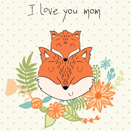 Baby shower cards. Vector fox mom and baby.