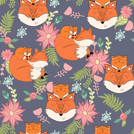 Seamless pattern. Vector fox mom and baby
