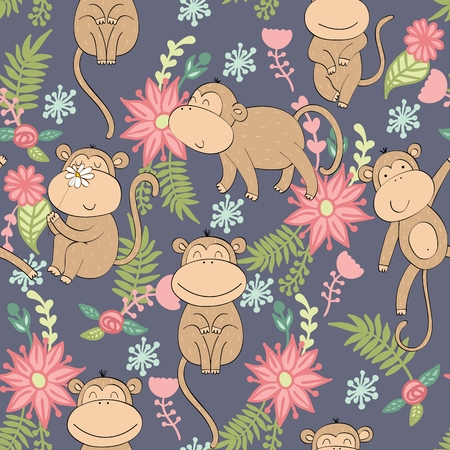 Vector illustration with cartoon monkeys with flowers. Seamless pattern Archivio Fotografico - 127472291