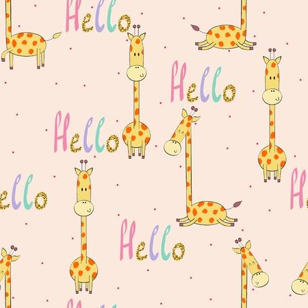 Vector illustration with cartoon giraffe. Seamless pattern Ilustração