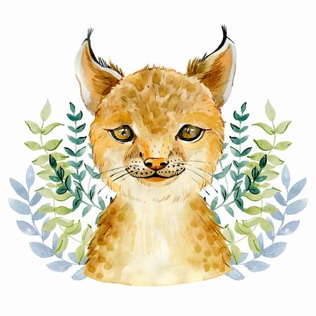 bobcat character portrait Stock Photo