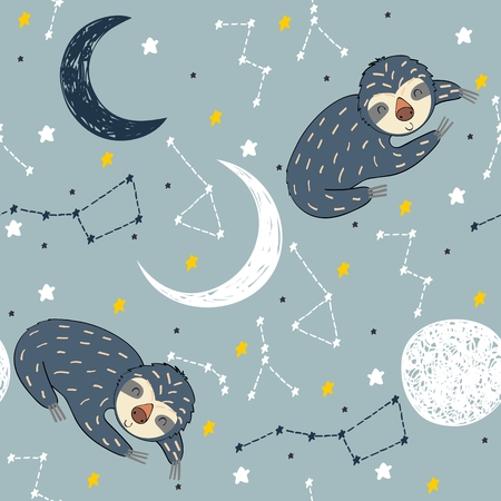 Vector illustration with sloth and moon. Sweet dreams. Illustration