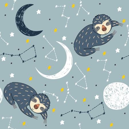 Vector illustration with sloth and moon. Sweet dreams. Archivio Fotografico - 127088846