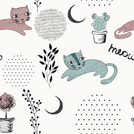 Vector hand drawn seamless pattern with cats Standard-Bild - 127088847